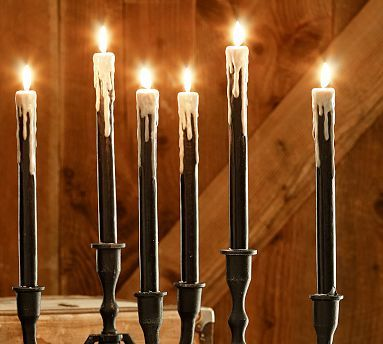 Drippy Wax Taper Candle, Set of 3 #potterybarn