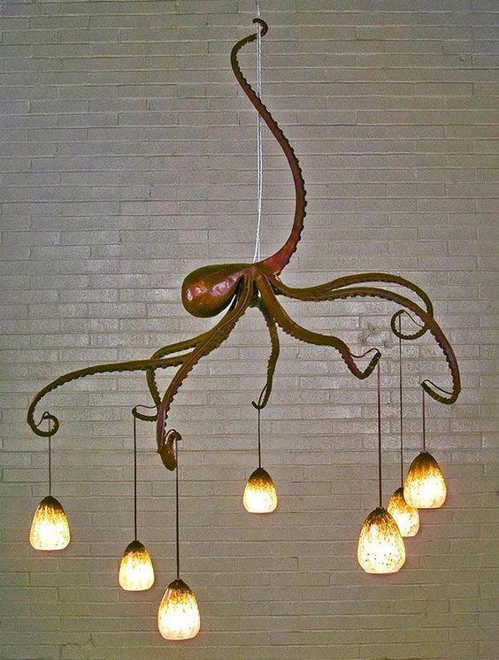 Octopus Chandelier, Creative Nautical Home Decorating Ideas, http://hative.com/creative-nautical-home-decorating-ideas/,
