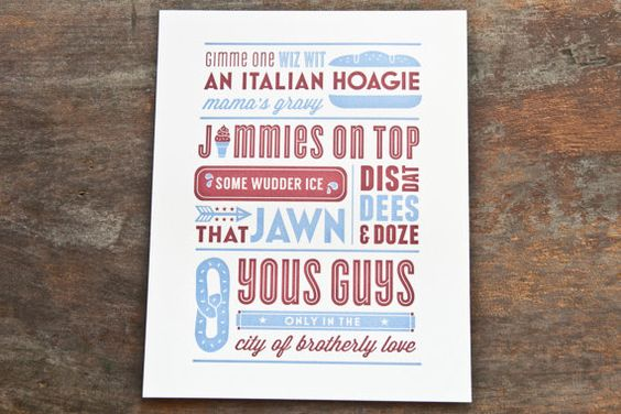 Philly Slang  Red & Blue by TwoPaperdollsShop on Etsy, $25.00