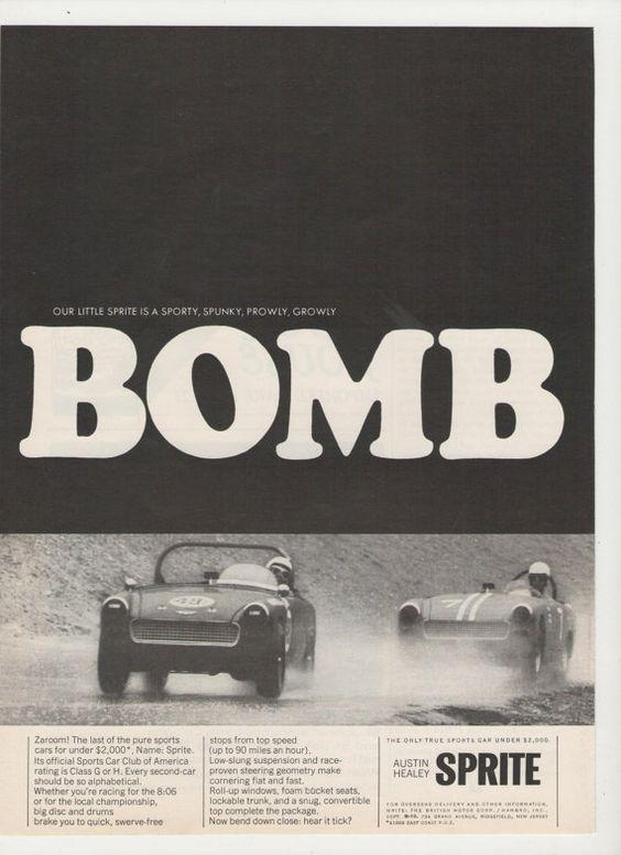 =-=1966 Austin Healey Sprite Bomb  Advertisement
