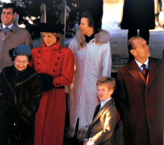 December 29, 1985:  Princess Diana with members of the Royal family during Sunday Morning Service at Sandringham Church.