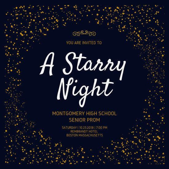 Starry Night Prom Invitation Templates By Canva Starry Night Prom Prom Themes Starry Night Prom Invites