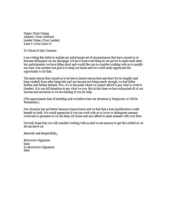 Hardship Letter Template 06 Lettering Loan Modification Business Plan Template Free