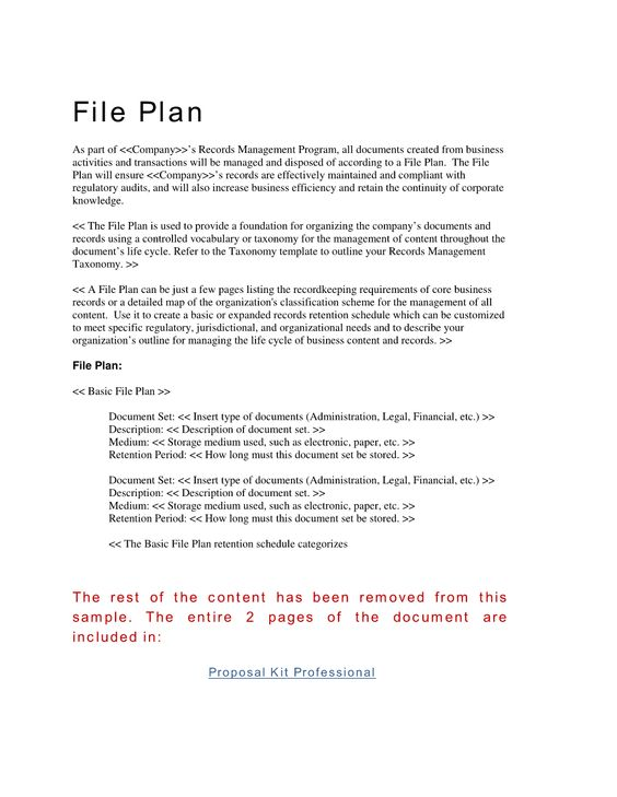 Records Management File Plan Template - Hundreds of project - program proposal