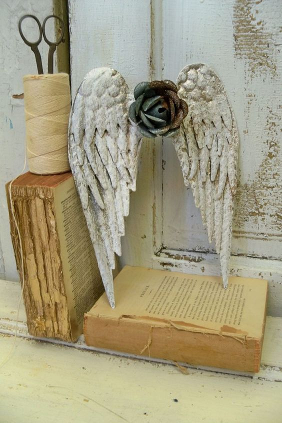 Metal angel wings wall sculpture shabby chic rusty rose distressed white with hints off silver and gold cottage home decor Anita Spero