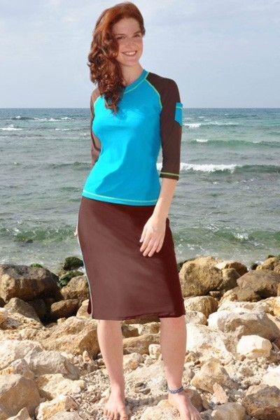 Modest Swimwear - Long Brown Swim Skirt - Long Skirt - Bottoms ...