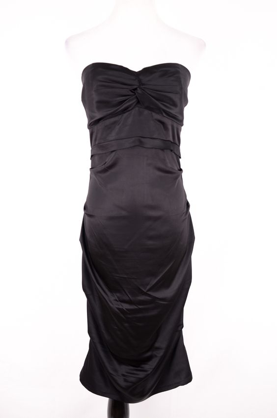 Rubber Ducky Black Ruched Strapless Dress Size L