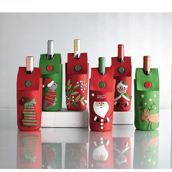 Wine Bottle Holders - Add some cheer to that bottle of bubbly with these whimsical wine bottle holders!
