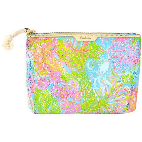 Lilly Pulitzer Clear Water Zip Pouch ($34) ❤ liked on Polyvore featuring beauty products, beauty accessories, bags & cases, bags, blue and lilly pulitzer