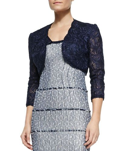 T8WV4 Kay Unger New York 3/4-Sleeve Lace Cropped Jacket
