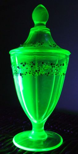 Vintage Vaseline Uranium Art Glass Covered Compote Hand Painted Victorian Dish