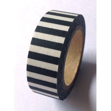 WASHI TAPE (10 Meters) Washi TapeJail Bait (Black & White Bold stripes)...Washi Tape for Scrapbooking, Card Making, Paper Crafts