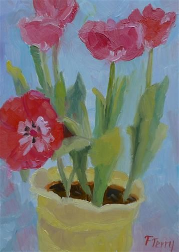 "Daily Paintworks - ""Wide Open Tulips"" - Original Fine Art for Sale - © Fay Terry"