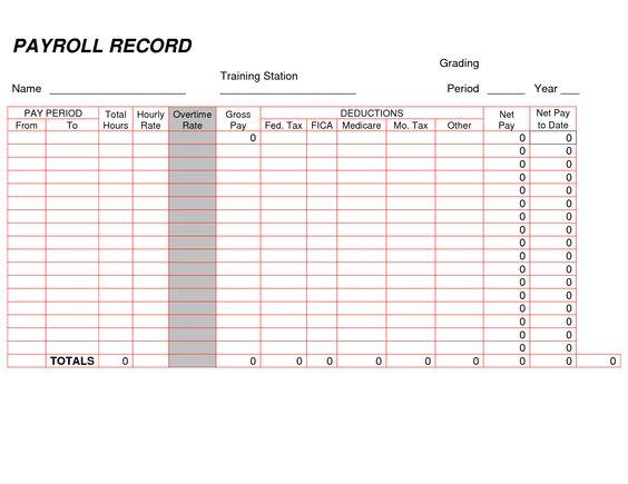 Printable Payroll Ledger | Blank Payroll Record - PDF | Things to ...