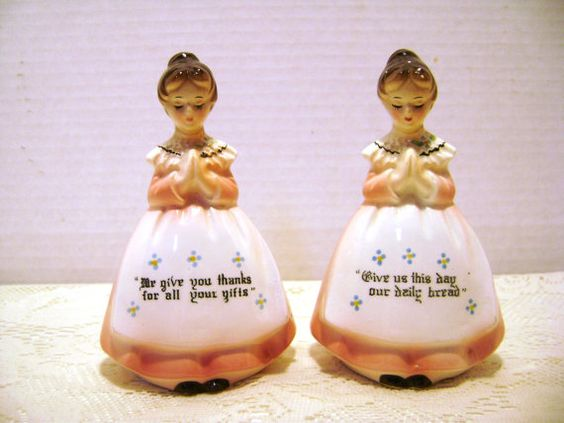 Vintage Salt and Pepper Shakers Prayer Ladies Meal by junquegypsy, $15.00