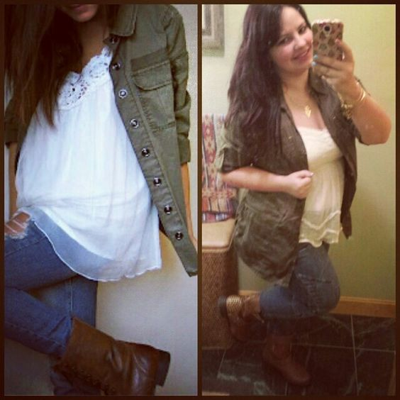 I pinned it & did it! Military style button up, white flowy tank, skinnies, and brown combat booties