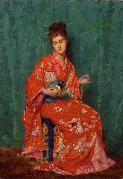 Émile Villa (1836-c.1900) : Portrait of a Lady. Private collection. ©Bridgeman Art Library.