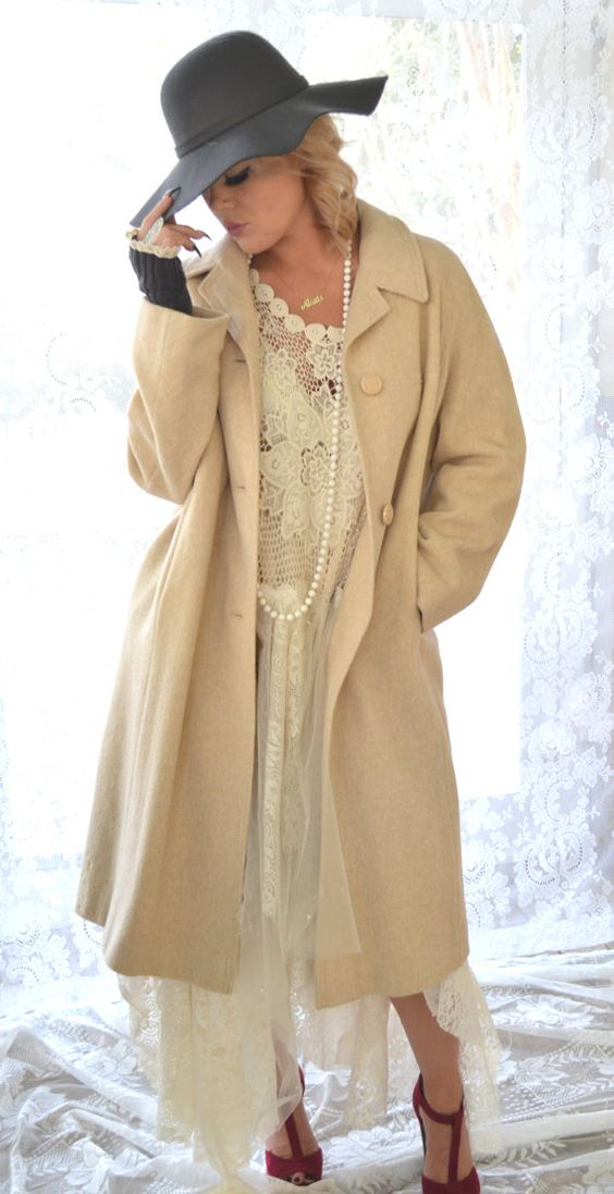 Mad Men style, Trench coat, Creme brulee, 40s coat, cashmere coat, camel coat, winter clothing, Vintage clothing, Old Hollywood, True rebel: