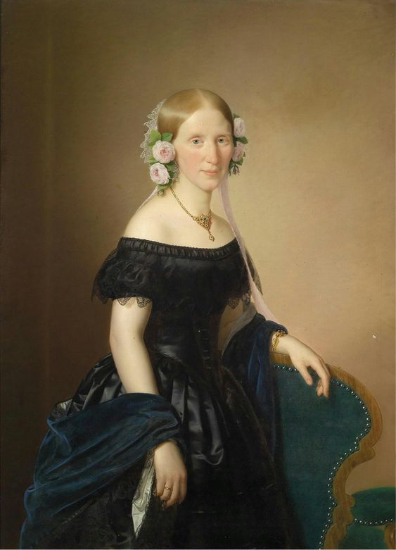 Portrait of a lady with roses in her hair by Joseph Weidner 1854