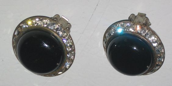 Vintage BLACK Cabochon Clip Earring with by EstateArcheology