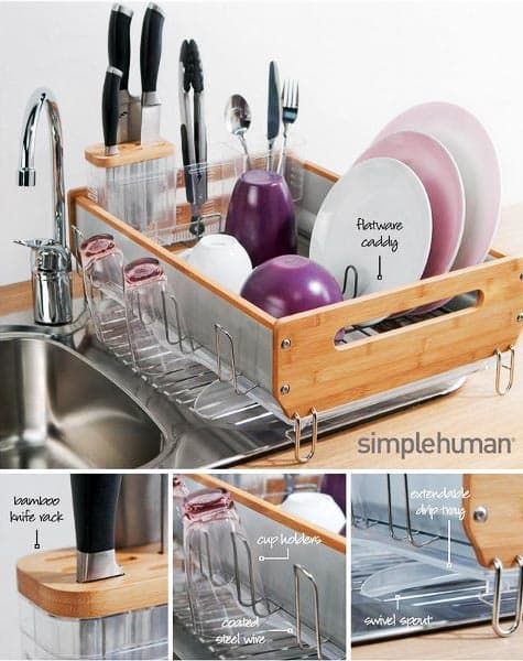 Bamboo Dish Rack From Simplehuman Bamboo Dishes Wooden Dish Rack Dish Racks