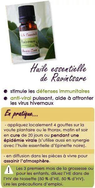 EN CAS DE GRIPPE : Huiles essentielles de ➡️ RAVINSTARA : pour la grippe c'est d'Idéal. Acheter de l'Huile d'Amande Douce + HE Ravinstara. 1) mettre l'huile d'amande douce dans le creux de sa main, 2) mettre 4 à 5 gouttes d'HE de Ravinstara, 3) mélangez le tout et se frictionner le torse avec ce mélange et 1 aspégic 1000 et au Lit bien au chaud.