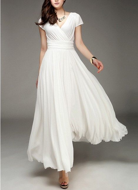 Women&-39-s White Long Dress Chiffon Skirt by colorfulday01 on Etsy ...