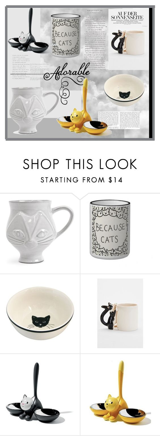 """""""cats love"""" by chimechn ❤ liked on Polyvore featuring interior, interiors, interior design, home, home decor, interior decorating, Jonathan Adler, Plum & Bow and Alessi"""