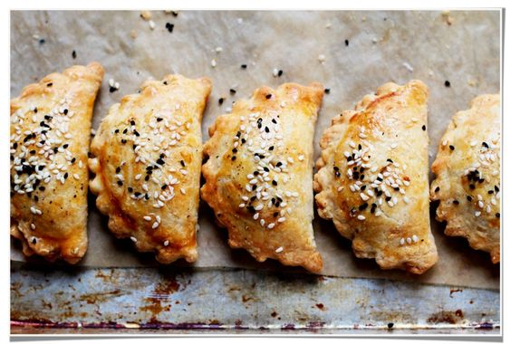 A sweet and savorypocket pierecipe. They'refilled with pumpkin puree and bucheron goat cheese.