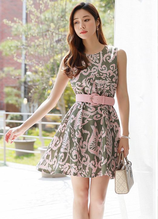 botanical print belted sleeveless flared dress フレアドレス ドレス ワンピース