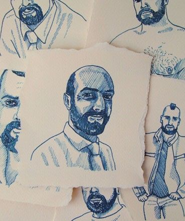 Ink drawings for a project about hairy-faced men www.hotcream.co.uk