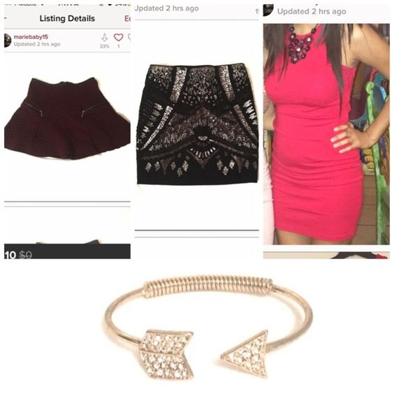Bundle for @missdaniela94 Gold Cuff: It's been laying around in my jewelry stack. It has some discoloration to the bracelet as you can see but it isn't so bad when you wear it.  Burgundy Skirt. Excellent condition. Size: Small  Express skirt. NWT.  -Size: XS ............. RedDress:Only worn once! No steins or tears. On the top part,just has some loose seam. Nothing major. Size: Small........... For more description on the items, check the separate listings Other