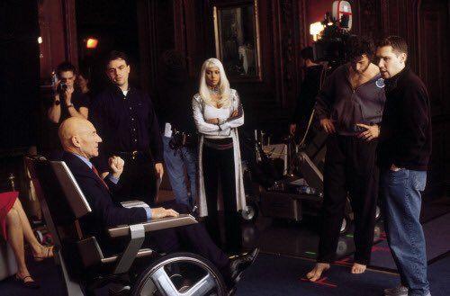 Happy 51th (2016) #BryanSinger Patrick Stewart, Halle Berry, Hugh Jackman & director Bryan Singer on set of X-Men (2000).