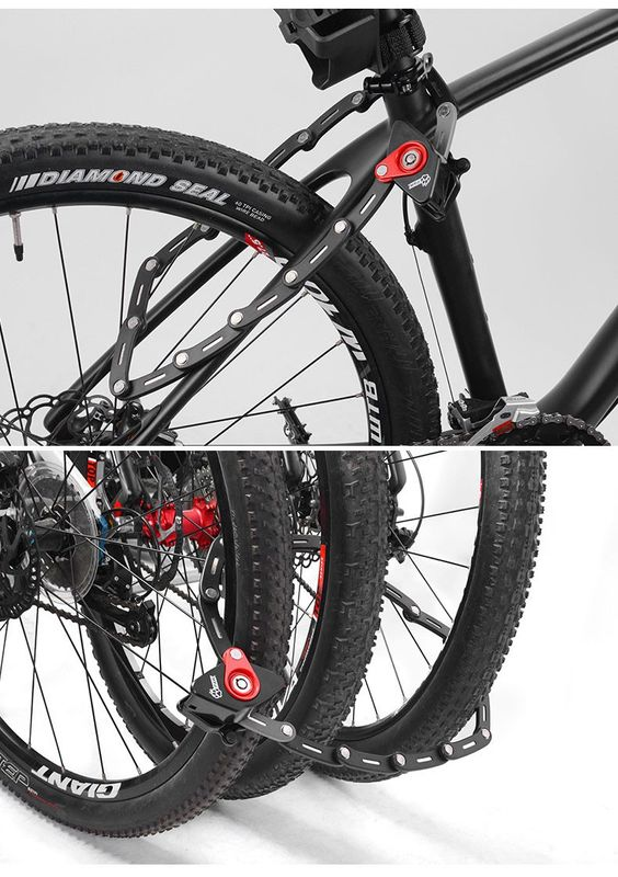Bicycle Folding Lock Bike Handy Pocket Key Storage Lock Chain Cable Padlock Lock For Cycling - Emotoer