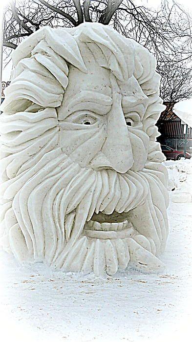 Old man face snow sculpture #snowSculpture #snow #winter #sculpture #face