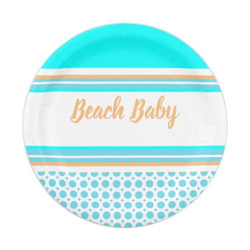 Beach Baby Stripe Pattern Orange Aqua Blue Party Paper Plate