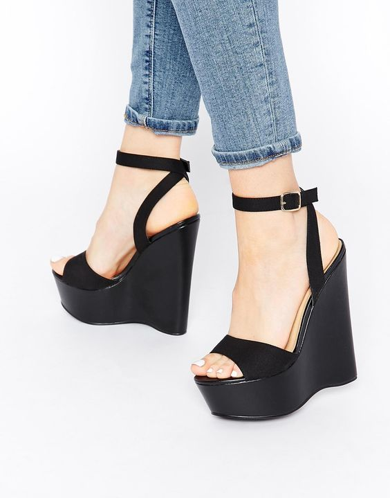 London Rebel Black Platform Wedge Heeled Sandals | Chaussures ...
