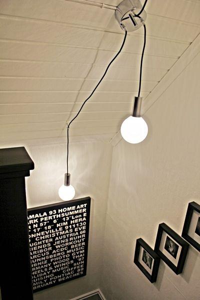 Trappa trappa lampa : Stora glödlampor på tygsladd i taket. Belysning i trappan. Ny ...