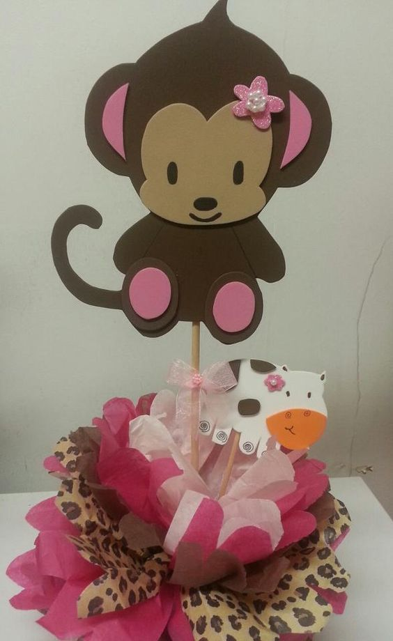 Monkey baby shower decorations pink