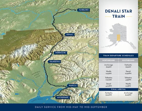 Alaska Railroad Travel Denali Star Train Route Map Anchorage – Alaska Tourist Map
