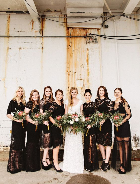 Eclectic Warehouse Wedding Inspiration + mismatched bridesmaid dresses | fabmood.com