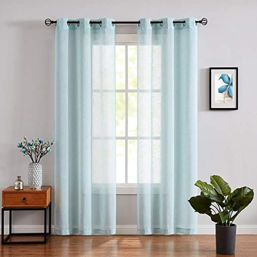 Fragrantex Turquoise Sheer Window Curtains For Living Room 108 Quot Inch Long Aqua Curtain Panels Set For Bed Curtains Living Room Curtains Aqua Blue Curtains 108 inch sheer curtain