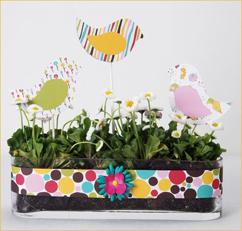 diy easter centerpiece...look for a similarly shaped ceramic floral planter from your local thrift store to dress it up even more