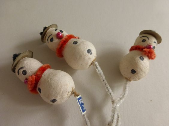Vintage Spun Cotton  Snowman Ornament Picks NOS by papertales on Etsy