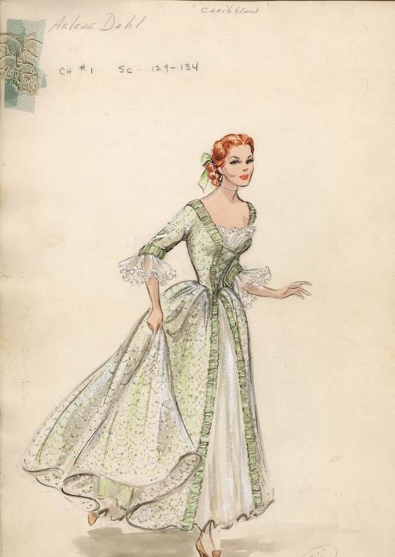Edith Head costume sketch of Arlene Dahl for Caribbean. (Paramount, 1955)