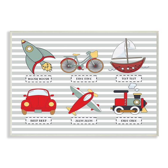 Stupell 'Transportation Icons and Noises' Wall Plaque Art