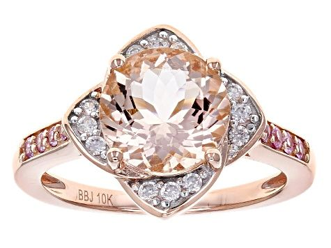Pink Morganite 10k Rose Gold Ring 2 32ctw Ahk030 Pink Morganite Ring Pink Morganite Rose Gold Ring