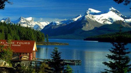 マリーン湖、カナダ 湖 自然 高解像度で壁紙