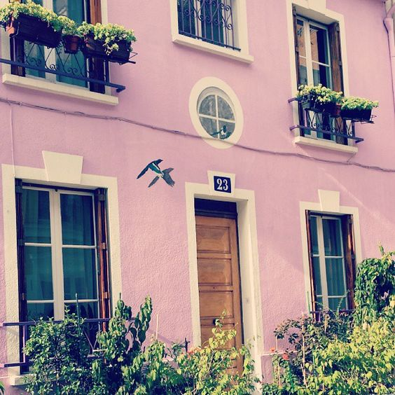 Charming pink building in Paris