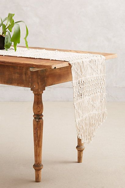 If I was quicker at macrame, I would love to make one like this. Handwoven Macrame Table Runner - anthropologie.com